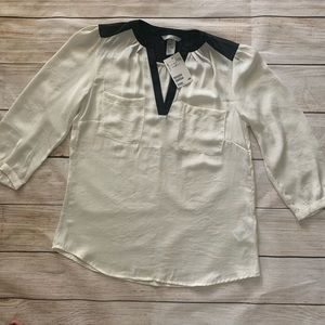 H&M White Off Black 3/4 Sleeve Blouse Top